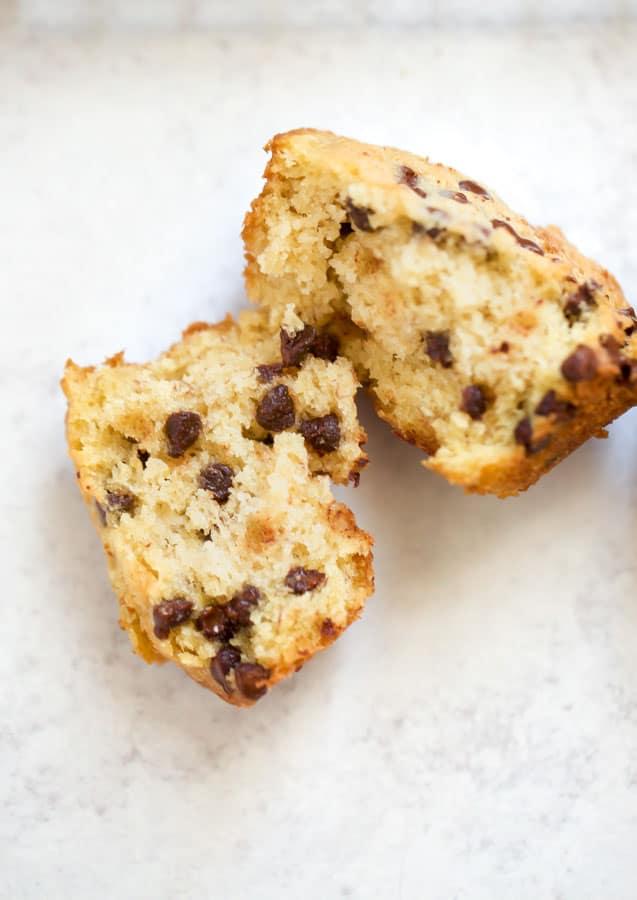 close up of muffin cut in half
