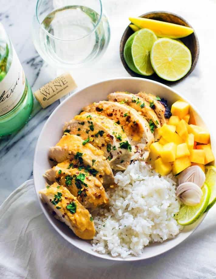 Healthy Chili-Lime Mango Marinated Chicken Bowls {Gluten Free}