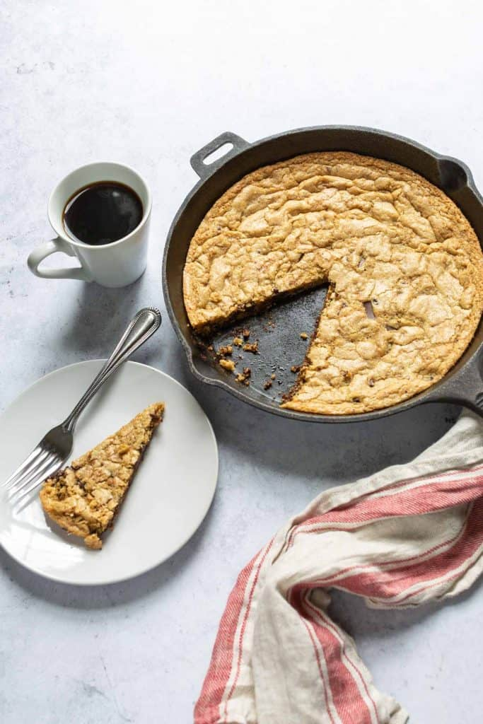 gluten free chocolate chip skillet cookie in a cast iron pan
