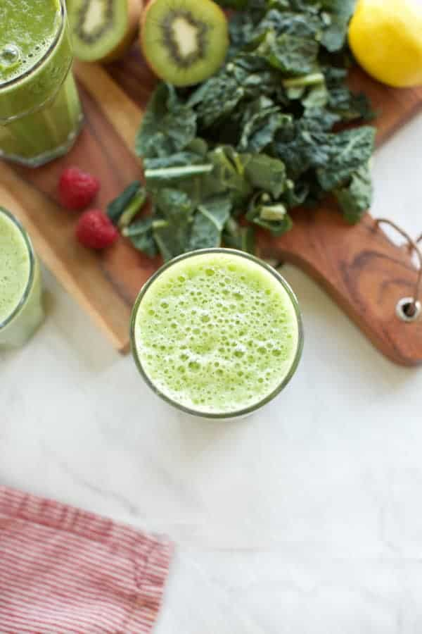 one green smoothie with kale on the side