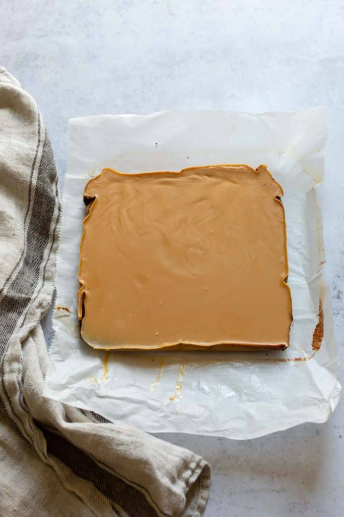 chocolate peanut butter fudge before it is sliced