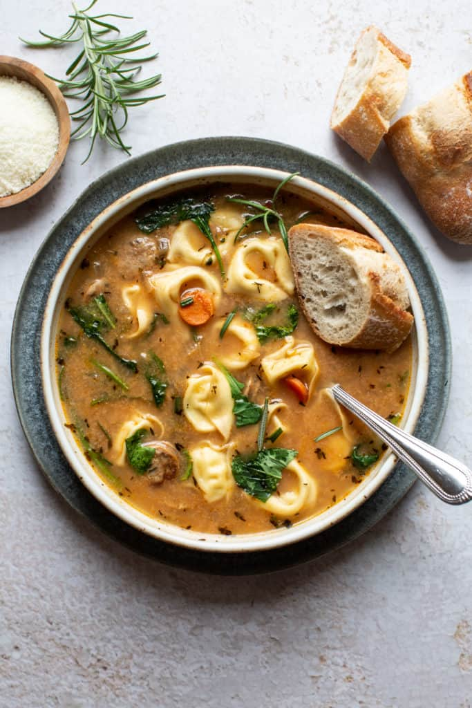 tortellini soup with fresh rosemary