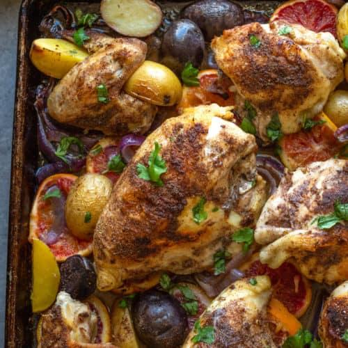sheet pan chicken with potatoes