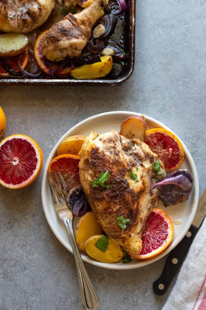 chicken breast with blood oranges