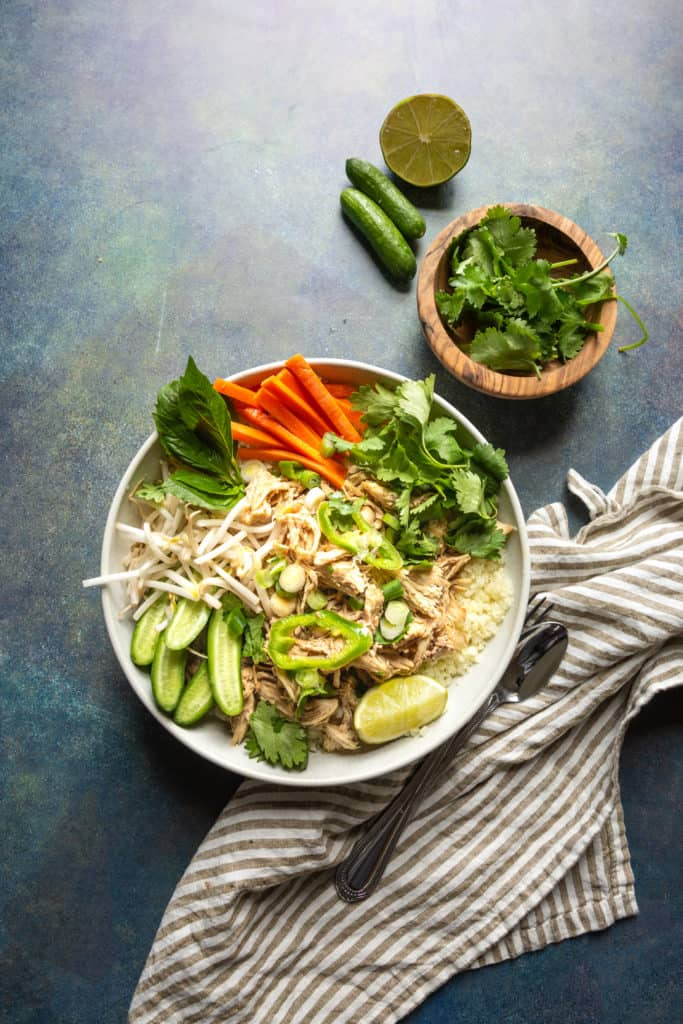 five spice chicken bowl with cucumber and carrots
