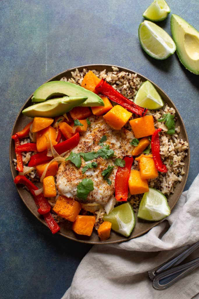 cod with butternut squash, red pepper and avocado