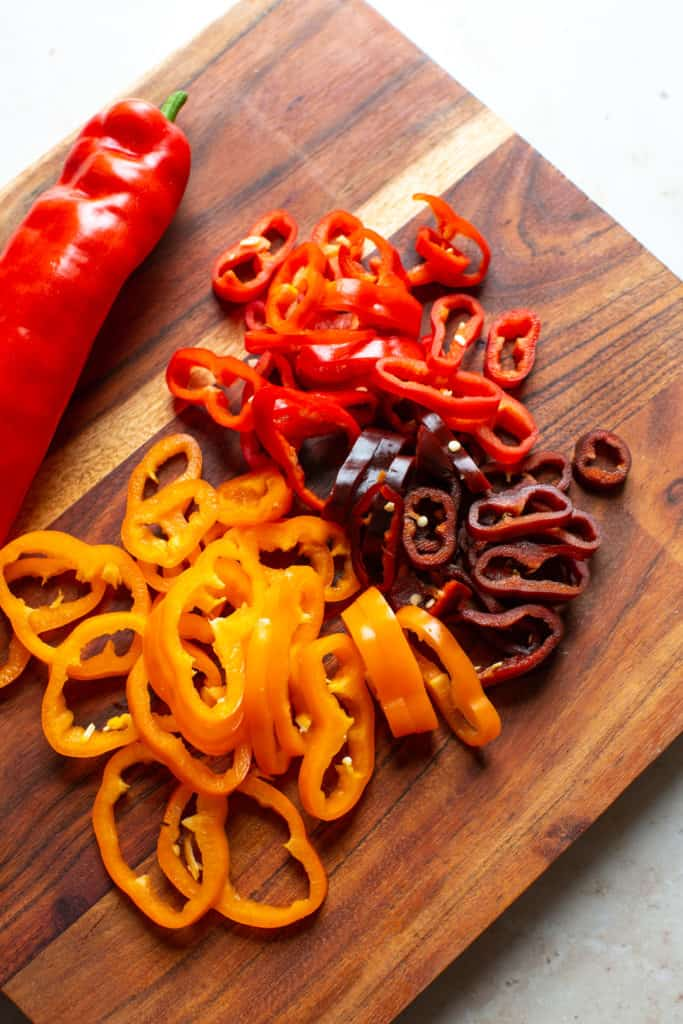 sliced red and orange peppers